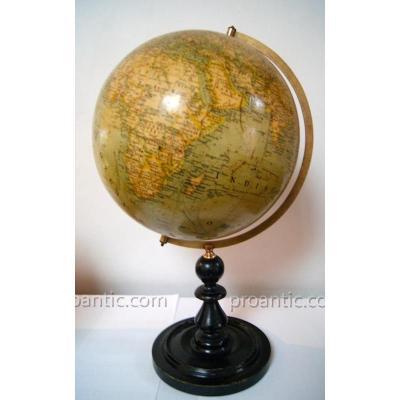 Globe Terrestre Allemand Circa 1880