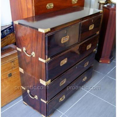 Antique Campaign Chest Of Drawers Rosewood Ca 1880