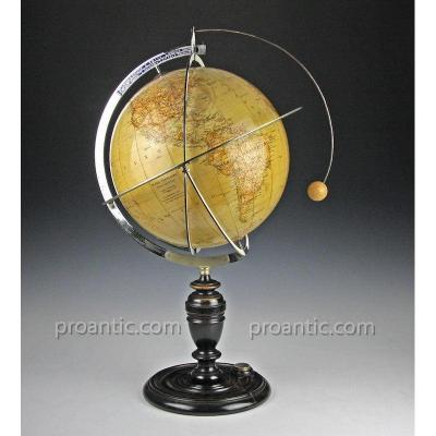 "Lunarium Globe ""tellux"" By Paravia & Cie. Italy Around 1930"
