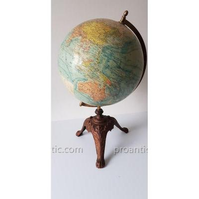 Earth Globe J.forest Paris Pied Fonte 1910