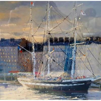 Pastel Marine Painting The Belem In Nantes By Jean-yves Marrec