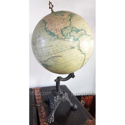 Globe Terrestre  J. Lebègue & Cie Circa 1890