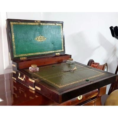 Large Writing Chest From 1820 In Rosewood And Brass