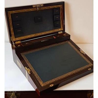 Grand Coffre écritoire De 1904 En Palissandre Et Laiton