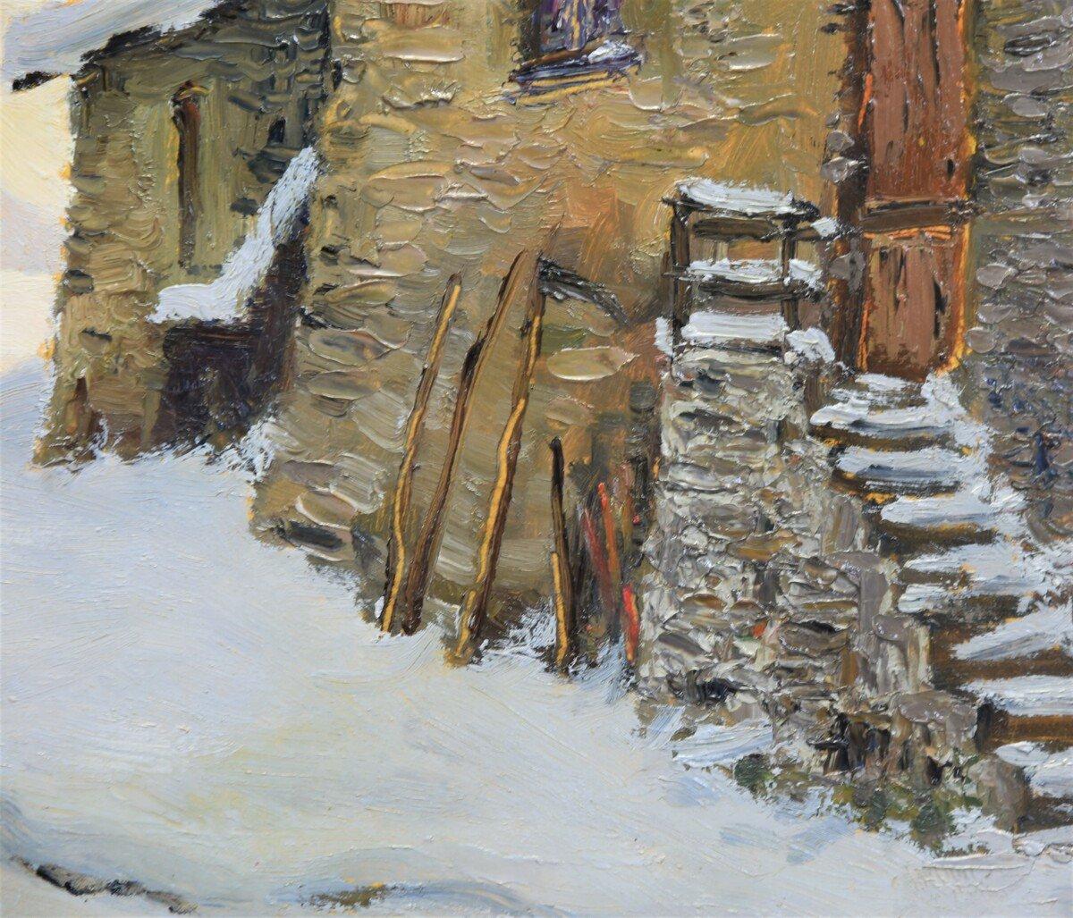 Peinture à l'Huile Sur Panneau - Paysage De Montagne Par Luciano Fregonara-photo-1