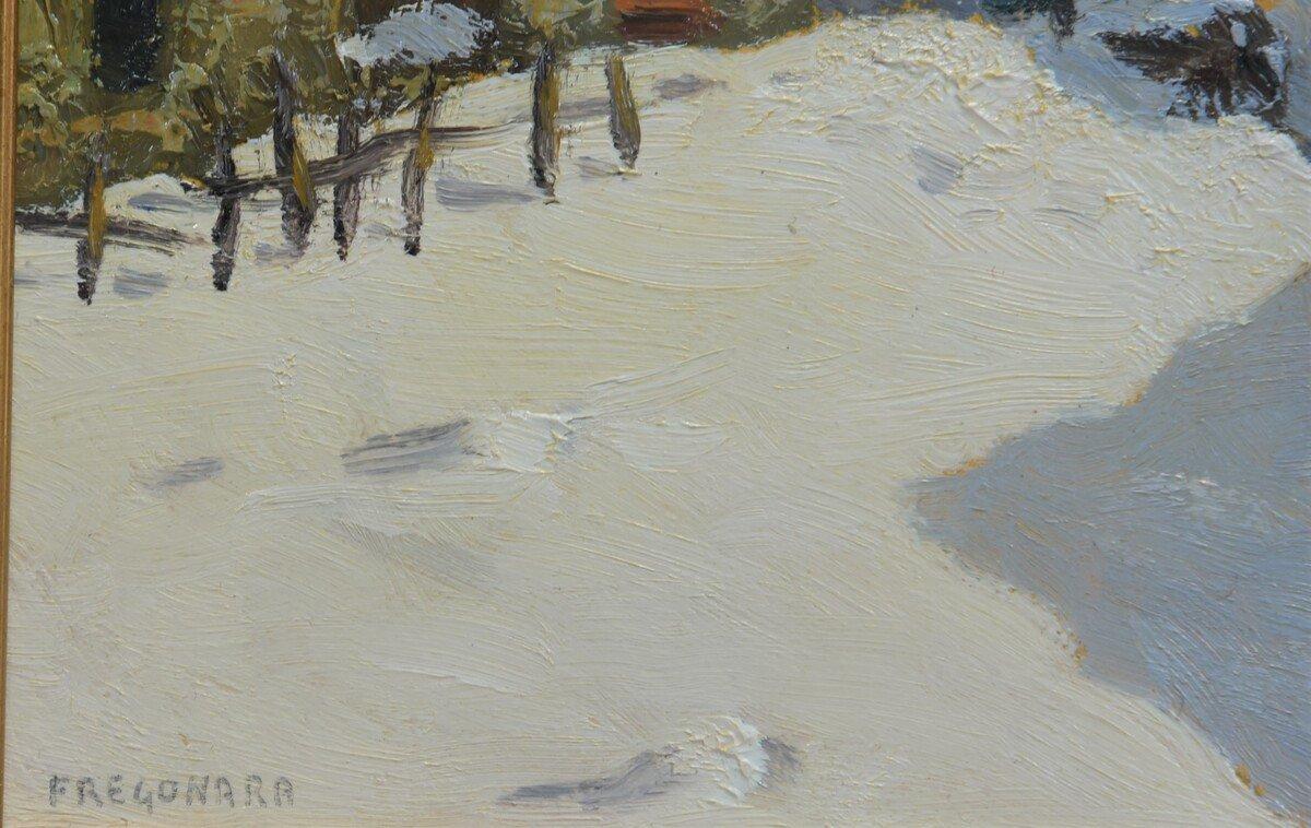 Peinture à l'Huile Sur Panneau - Paysage De Montagne Par Luciano Fregonara-photo-2