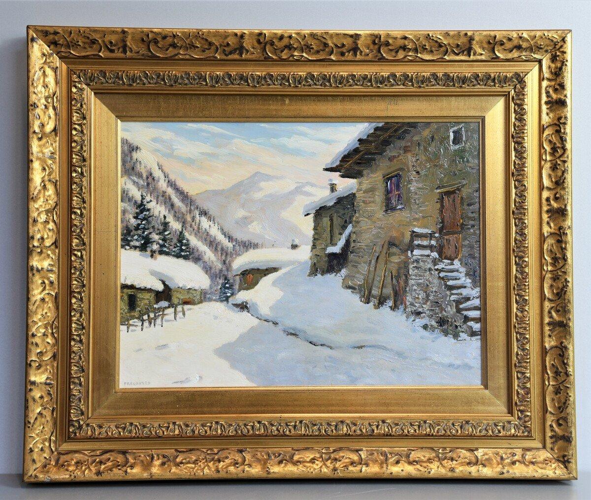 Peinture à l'Huile Sur Panneau - Paysage De Montagne Par Luciano Fregonara