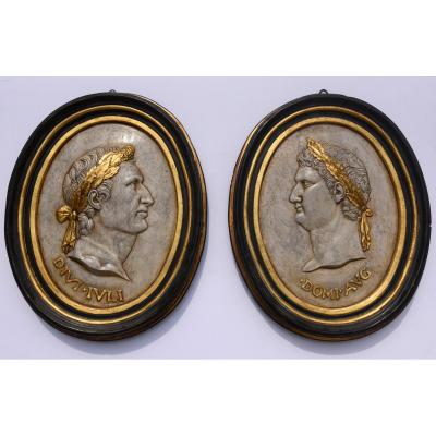 Pair Of Decorative Ovals In Plaster