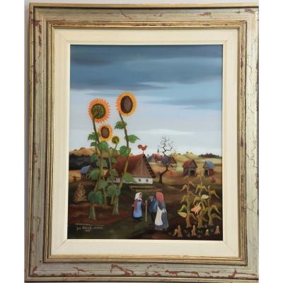 Peinture Du XXe Siècle - Tournesols - Huile Sur Toile