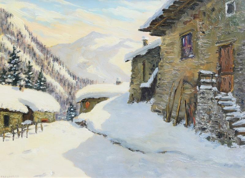 Peinture à l'Huile Sur Panneau - Paysage De Montagne Par Luciano Fregonara-photo-3