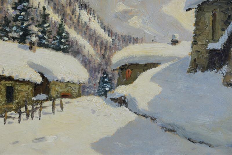 Peinture à l'Huile Sur Panneau - Paysage De Montagne Par Luciano Fregonara-photo-4