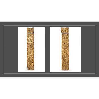 Ancienne Paire De Grands Pilastres Des Années 1600