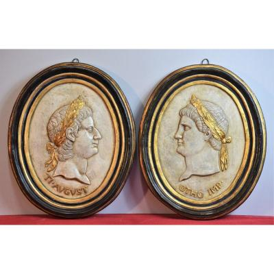 Pair Of Decorative Oval With Plaster Bas-reliefs