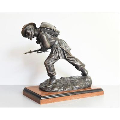 """Ancient Bronze Statue Of The XIX Century """"bersagliere Alla Carica"""""""