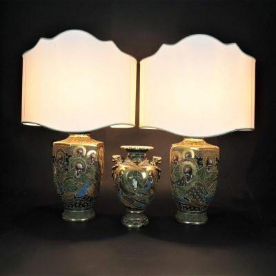 Pair Of Table Lamps With Vase From The 20th Century