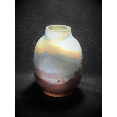 Glass Vase Work With Acid Signed Emile Galle 'of The XIXth Century