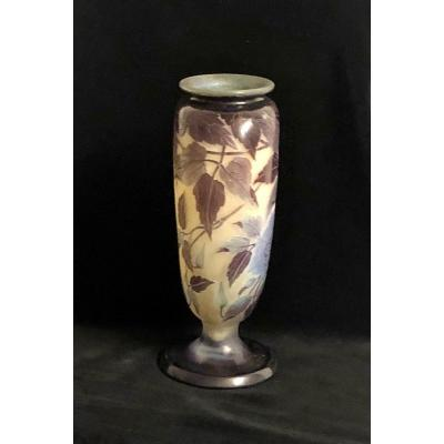Acid-worked Glass Vase From The 19th Century Signed E. Galle '