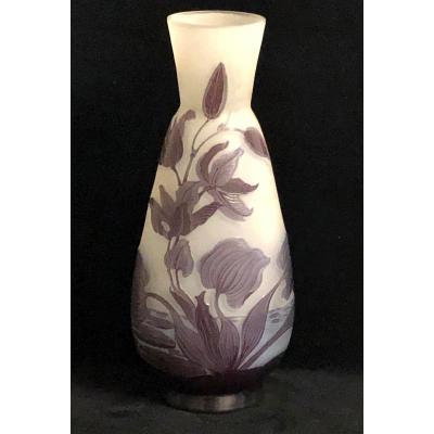 19th Century Acid Worked Glass Vase Signed E. Galle '