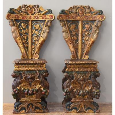 Old Pair Of Renaissance Stools