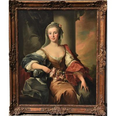 Old French Portrait From The 18th Century, Jean Marc Nattier (workshop)