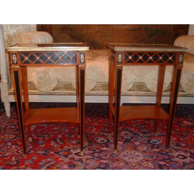 Paire De Tables De Salon De Style Louis XVI Estampillée Mailfert époque Début XXème Siècle