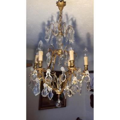 Chandelier Cage Bronze And Crystal