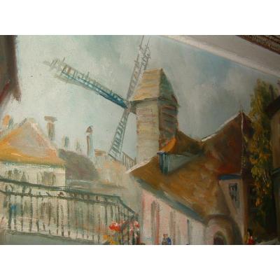 """Huile sur toile """"le moulin de la galette à paris"""" andré chapuy"""