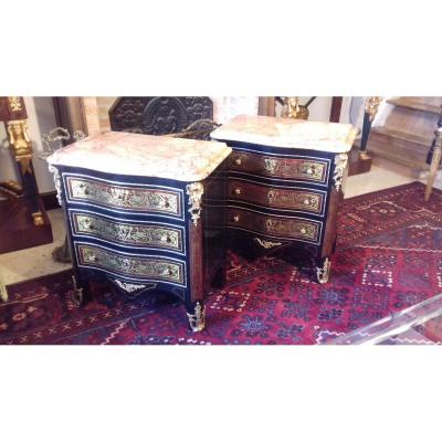 Pair Of Boulle Marquetry Bedside Tables