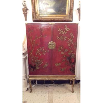 Chinese Lacquer Cabinet Stamped Paris Crystal Staircase