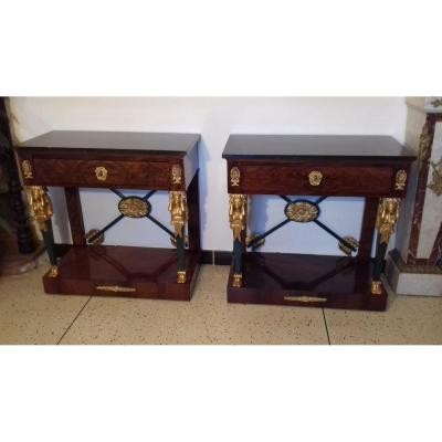 Pair Of Consoles With Caryatids Empire Period
