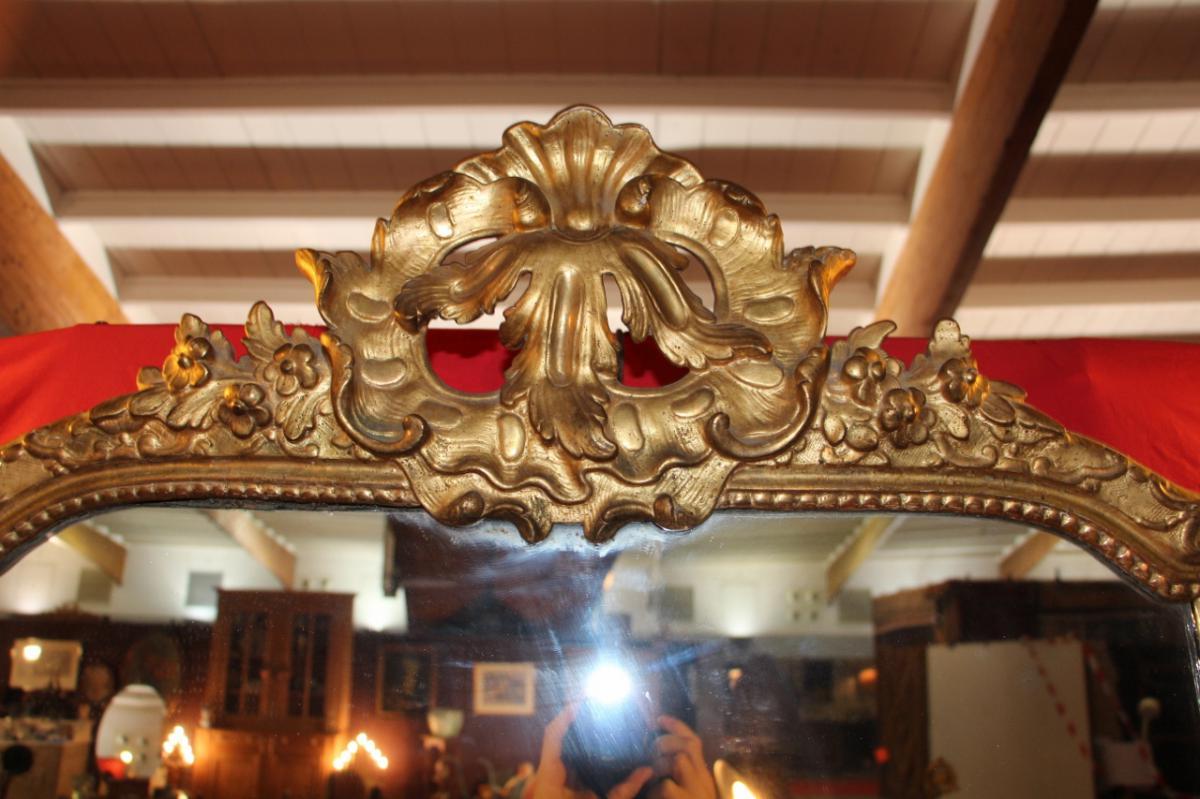 Miroir En Bois Doré d'époque Régence-photo-3
