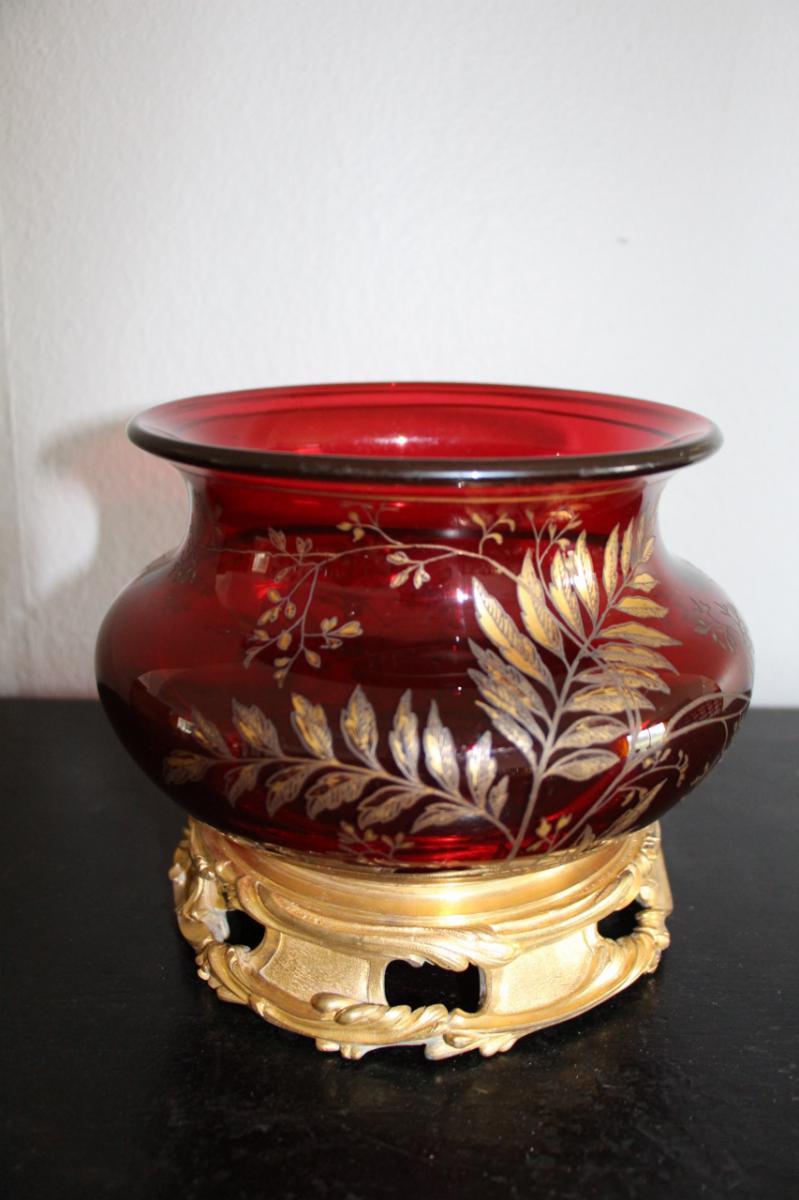 Vase Napoléon III En Cristal Et Bronze Doré