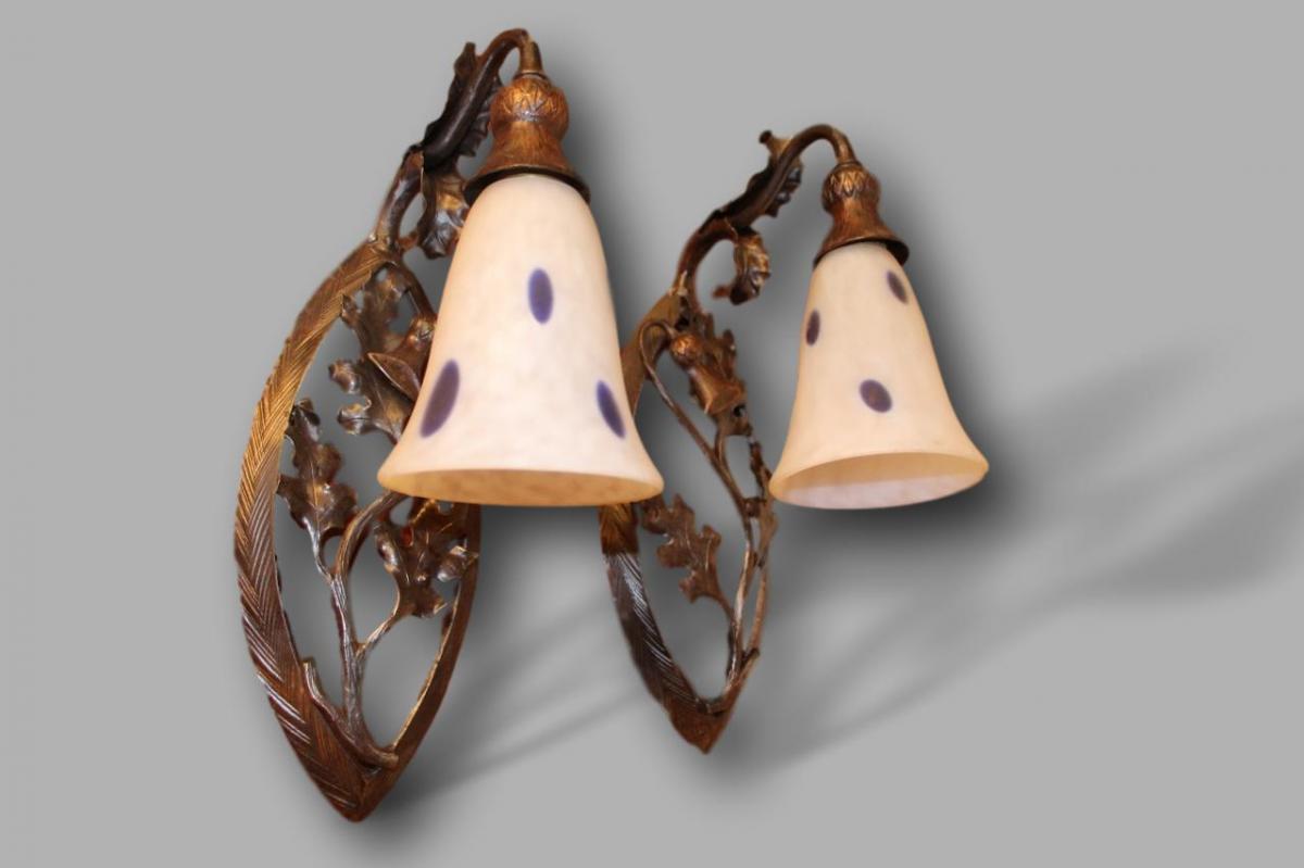 Paire d'Appliques Art Nouveau aux chardons , daum