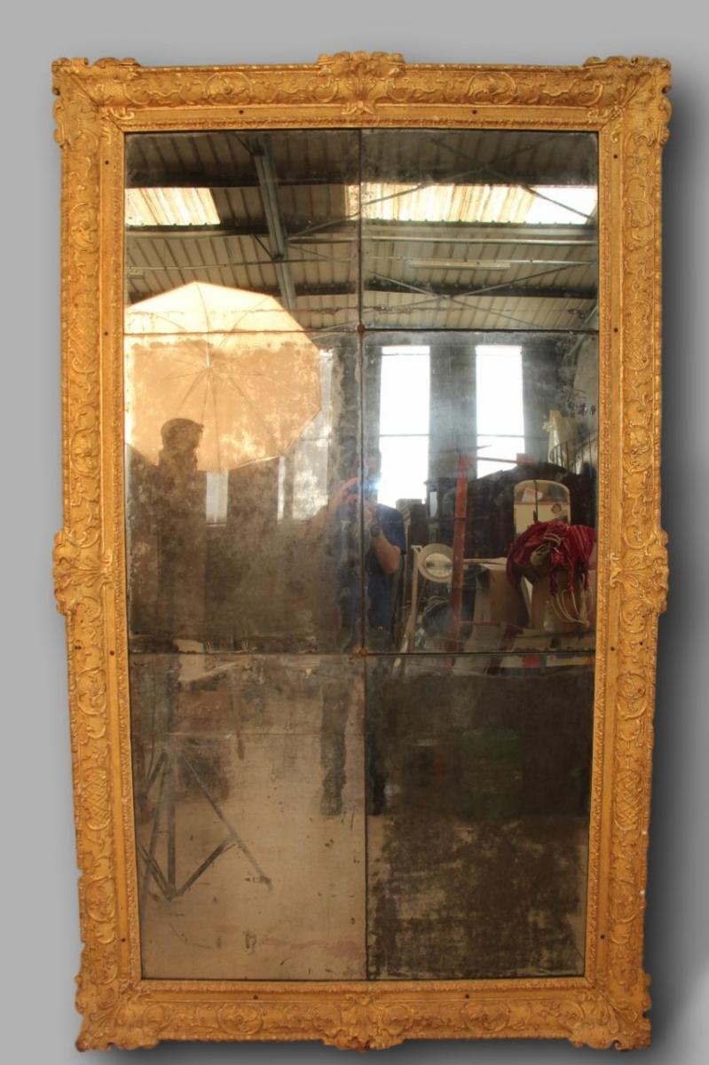 Large Louis XIV Mirror In Golden Wood 230 Cm Height