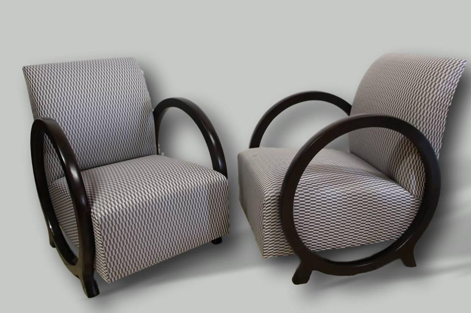 Pair Of Lacquered Art Deco Armchairs
