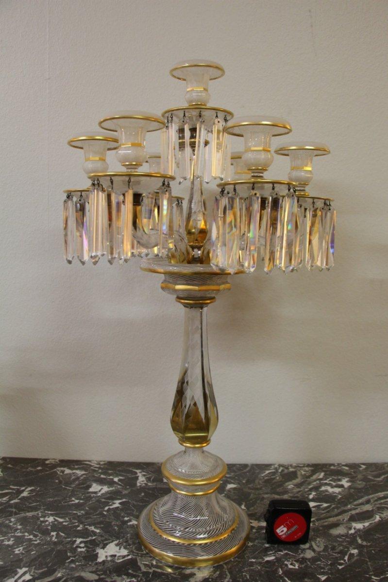 éxeptionnel Candélabre En Cristal De Baccarat  A Décor De Latticini