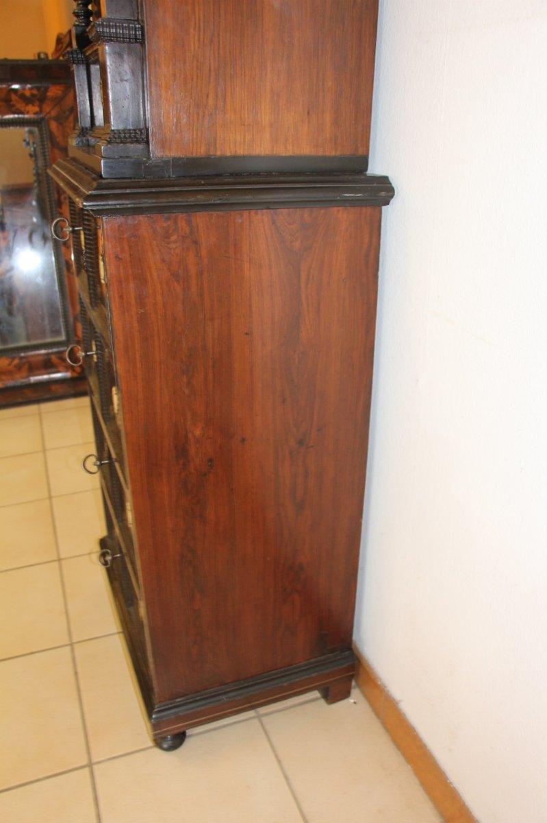 Cabinet XVIIeme En Palissandre Et Filet d'étain -photo-2