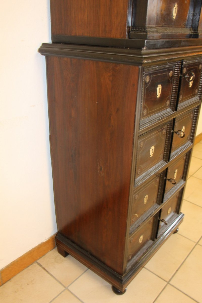 Cabinet XVIIeme En Palissandre Et Filet d'étain -photo-5
