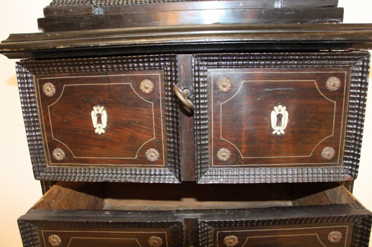 Cabinet XVIIeme En Palissandre Et Filet d'étain -photo-6