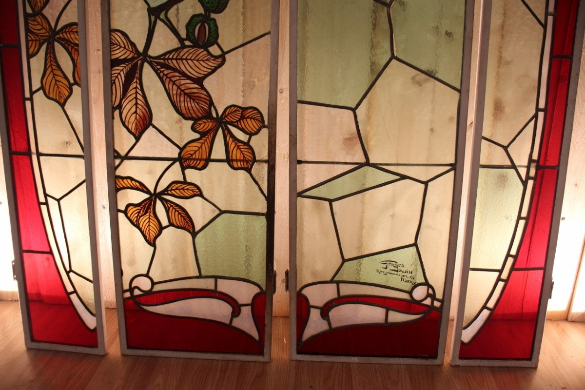 Set Of Art Nouveau Stained Glass Signed By Georges Janin (1884 - 1955) Nancy-photo-4