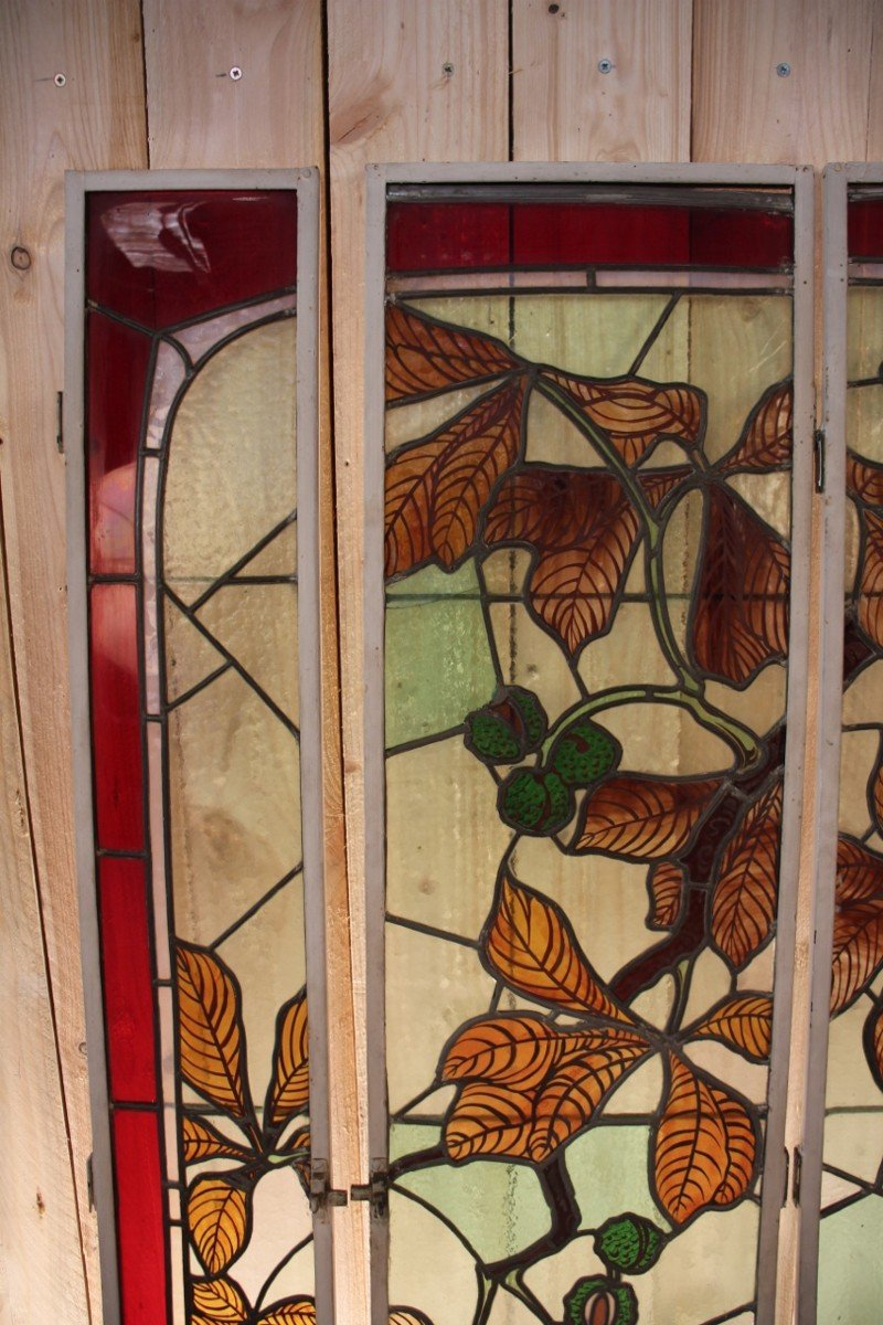 Set Of Art Nouveau Stained Glass Signed By Georges Janin (1884 - 1955) Nancy-photo-1