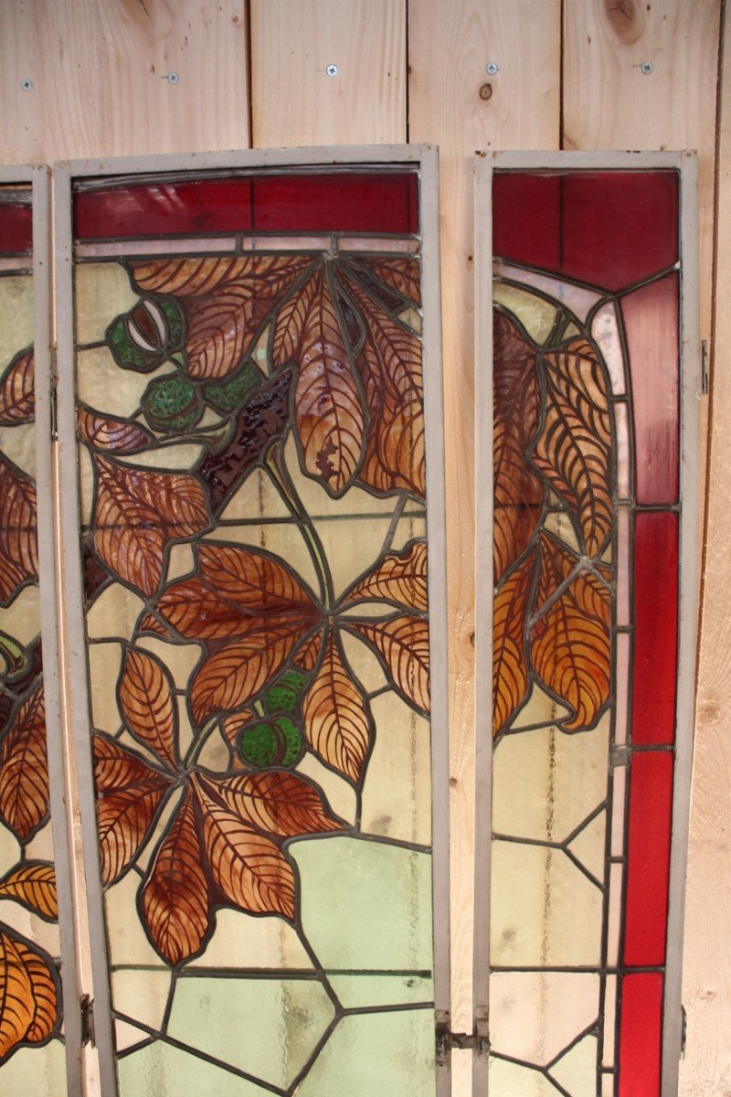 Set Of Art Nouveau Stained Glass Signed By Georges Janin (1884 - 1955) Nancy-photo-2