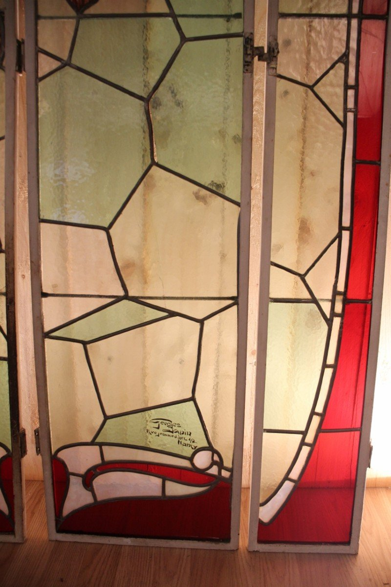 Set Of Art Nouveau Stained Glass Signed By Georges Janin (1884 - 1955) Nancy-photo-3