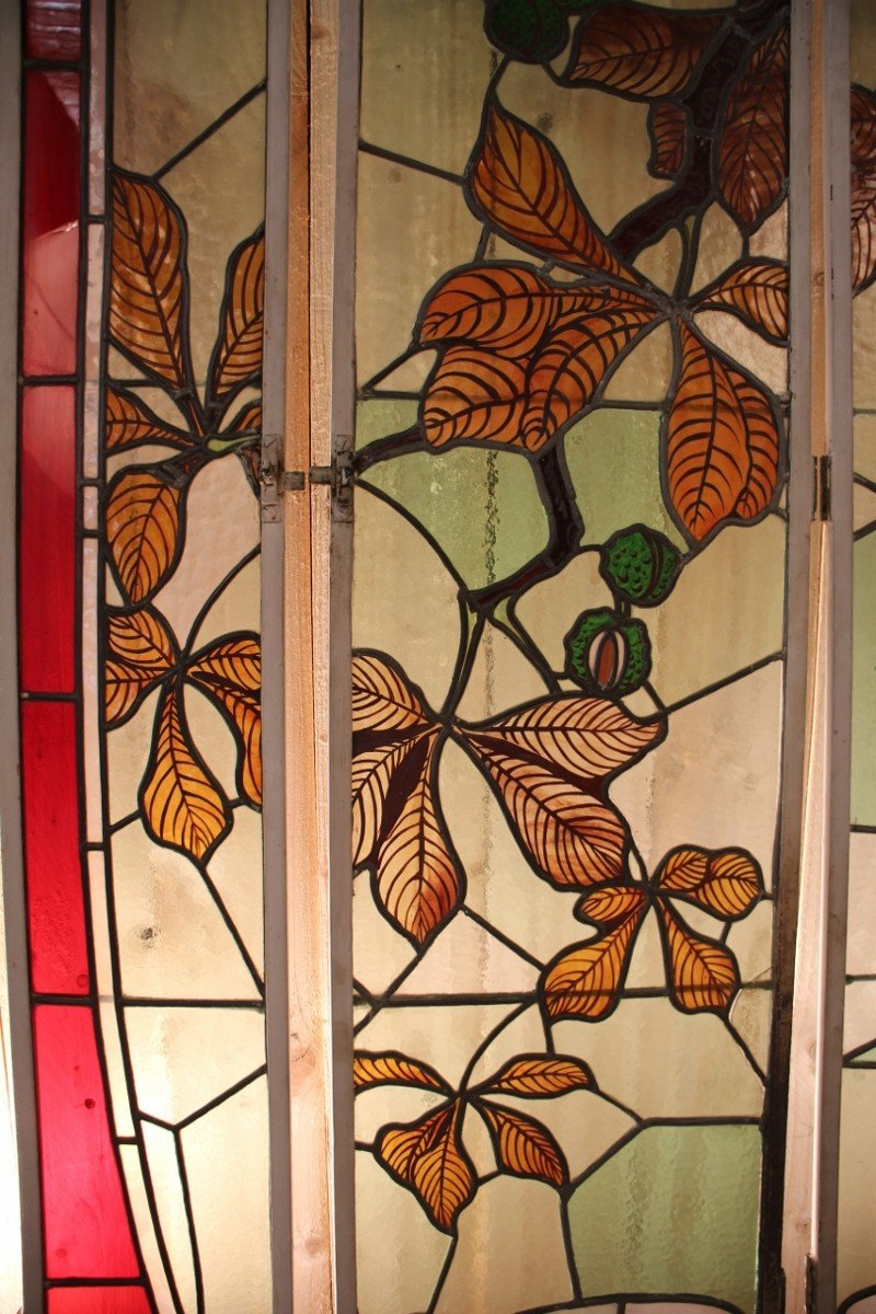 Set Of Art Nouveau Stained Glass Signed By Georges Janin (1884 - 1955) Nancy-photo-6