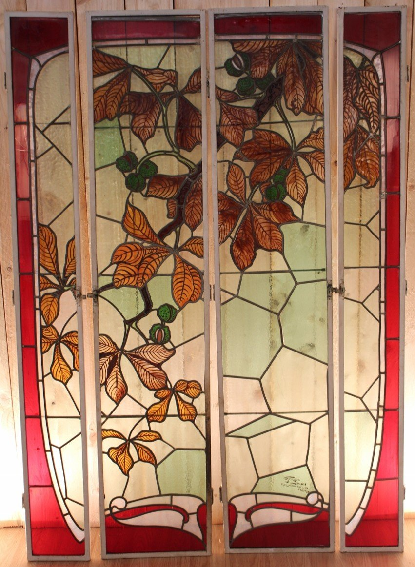 Set Of Art Nouveau Stained Glass Signed By Georges Janin (1884 - 1955) Nancy