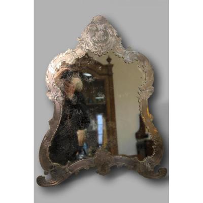 grand Miroir de table En Argent Massif XIXeme