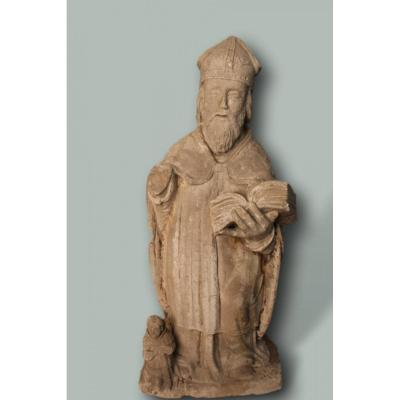 Stone Statue Representing A Bishop Or A Saint XVII