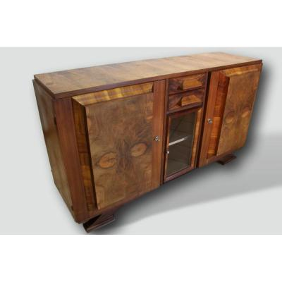 Sideboard Year 50 In Burl Walnut, Stamped