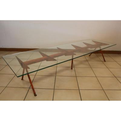Grande Table Basse Année 50 Style Jean Prouvé