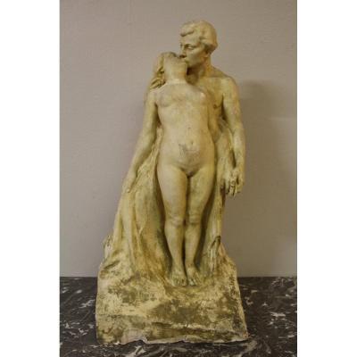 grande sculpture préparatoire d'atelier de alfred finot pour le vase